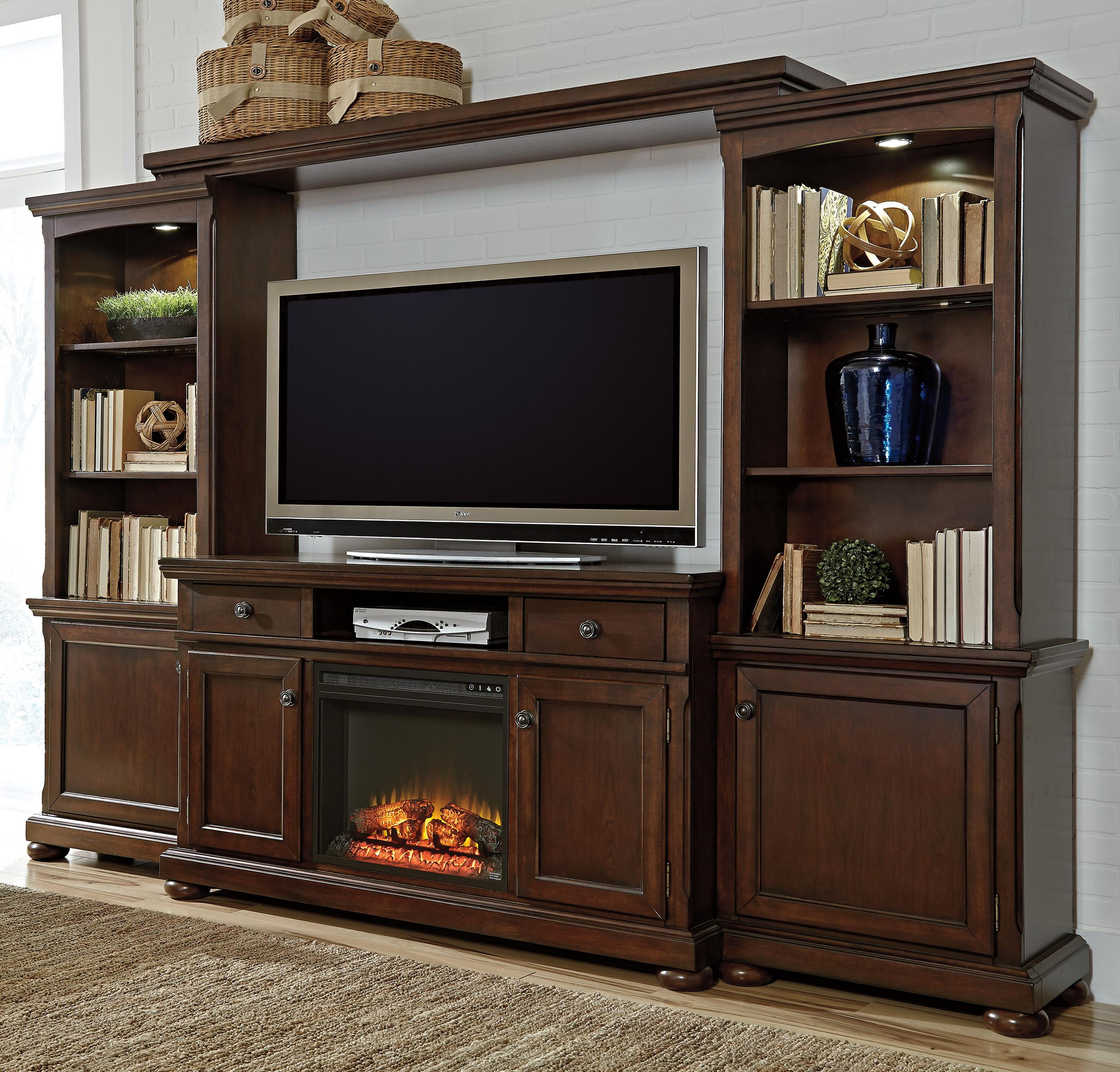 Millennium Porter Extra Large TV Stand, Bridge, and Piers - Item Number: W697-33+35+34+132+W100-01