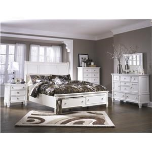 Queen Sleigh Bedroom Group with Storage Foot