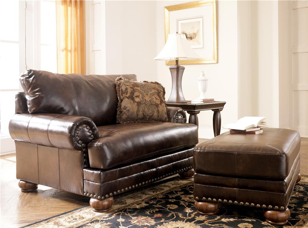 Signature Design by Ashley Furniture Chaling DuraBlend® - Antique Chair & 1/2 and Ottoman Set - Item Number: 9920023+14