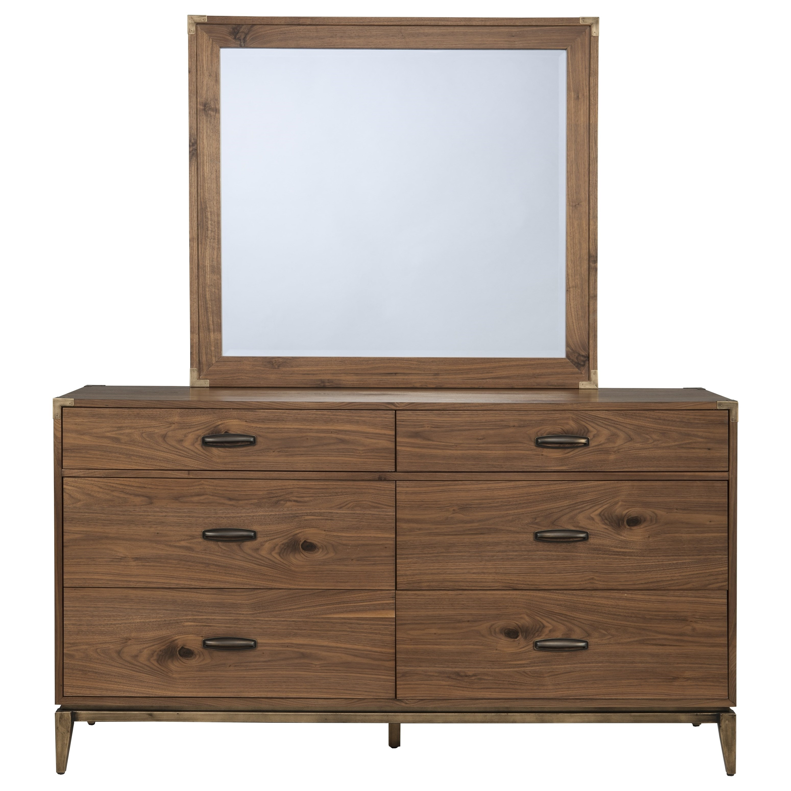 Adler Six Drawer Dresser and Mirror by Modus International at A1 Furniture & Mattress
