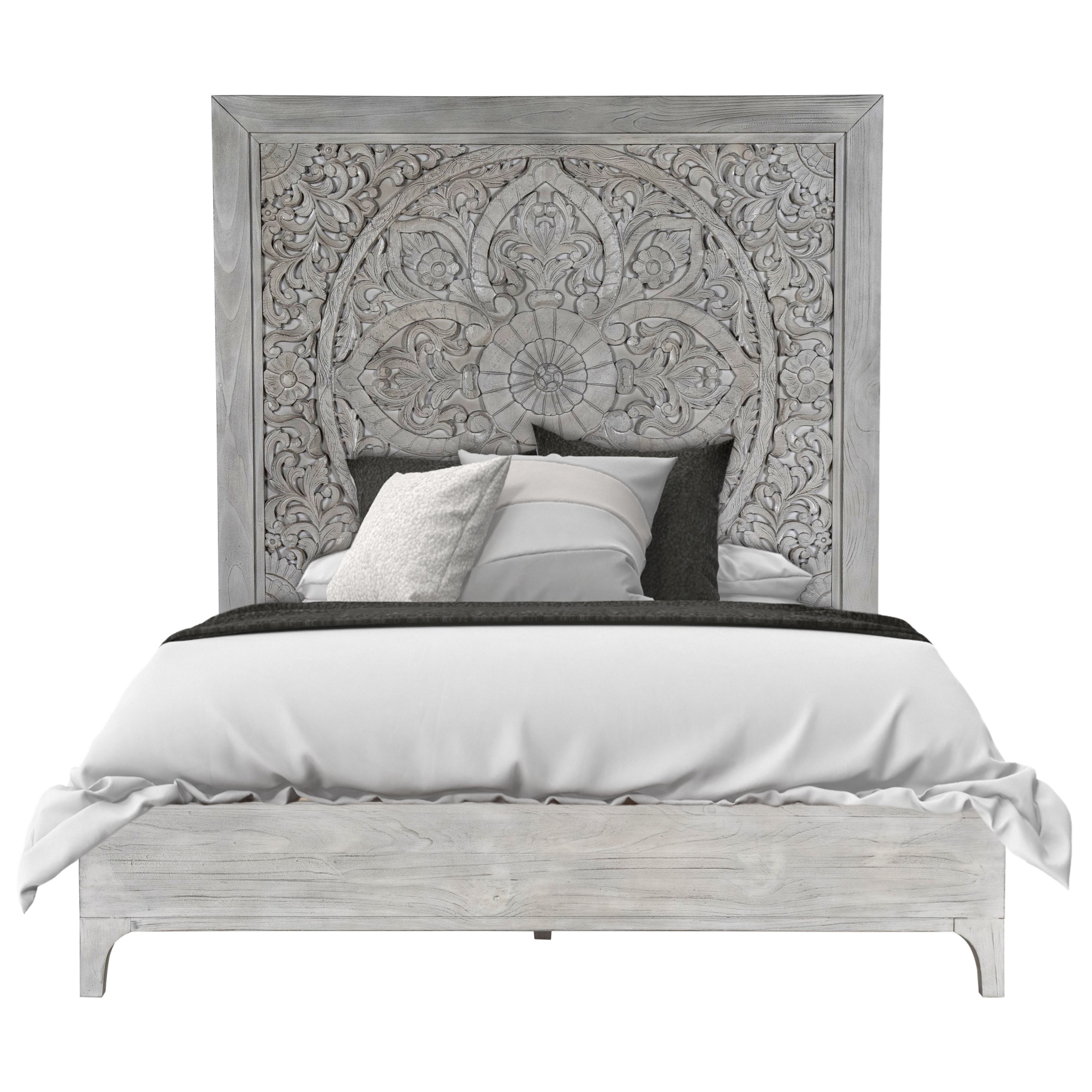 Modus International Boho Chic King Platform Bed In Washed White With Intricate Headboard A1 Furniture Mattress Platform Beds Low Profile Beds
