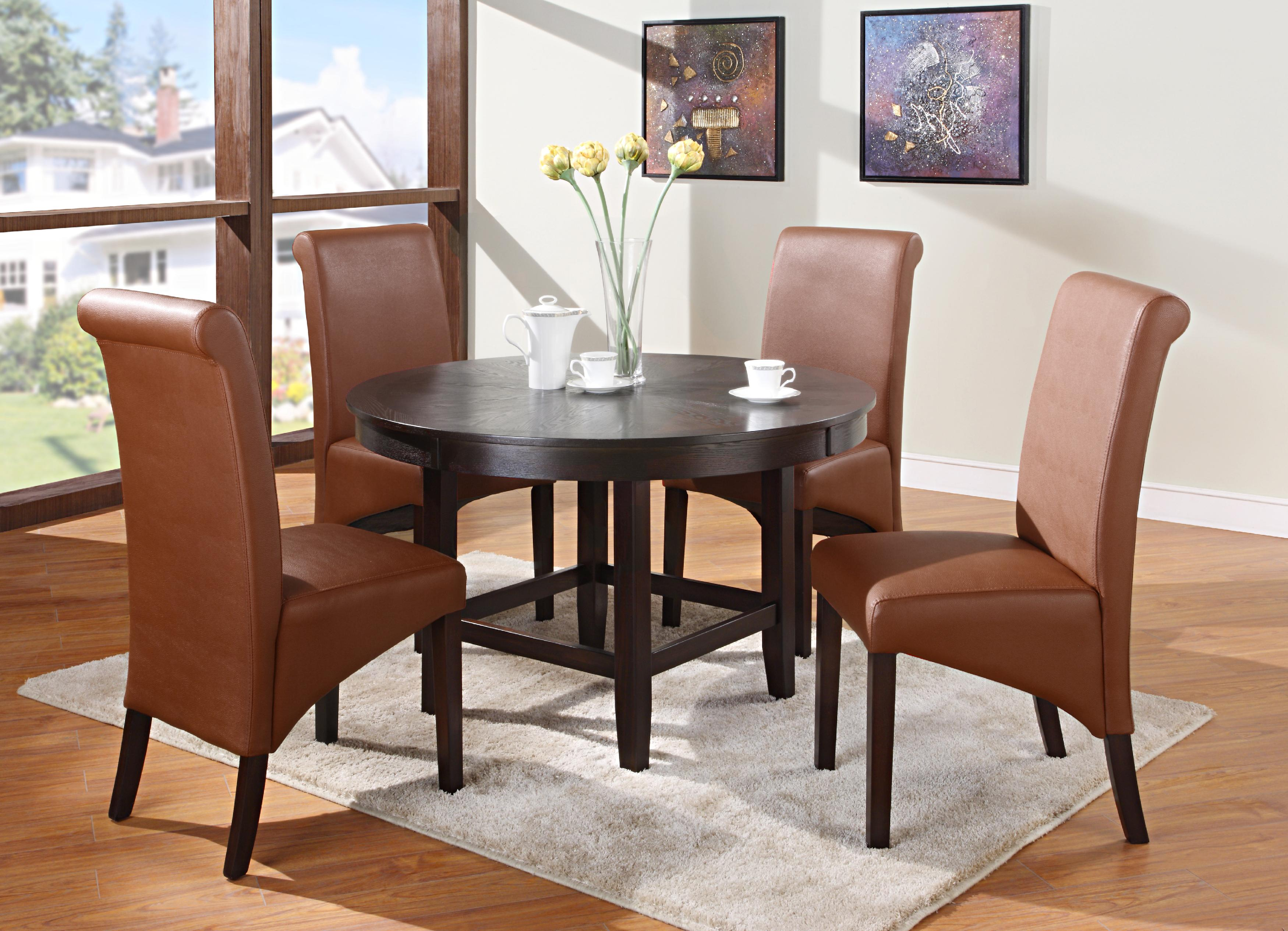 "Modus International Cosmo Dining 5-Piece 48"" Dining Table & Side Chair Set - Item Number: 2Y2161TR48+B+4x3L9266"