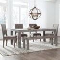 Modus International Herringbone Table and Chair Set with Bench - Item Number: 5QS361+4x63B+71