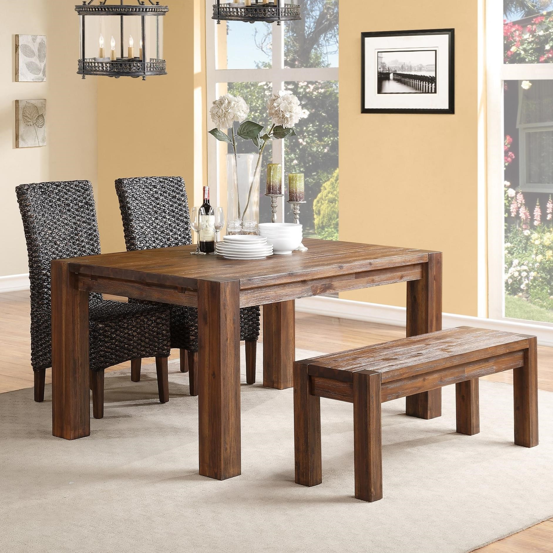 Dining Table & Chair Set with Bench