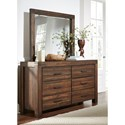 Modus International Meadow Bedroom 6 Drawer Dresser and Mirror with Wood Frame