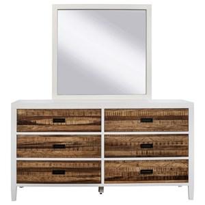 Modus International Montana 6 Drawer Dresser and Mirror
