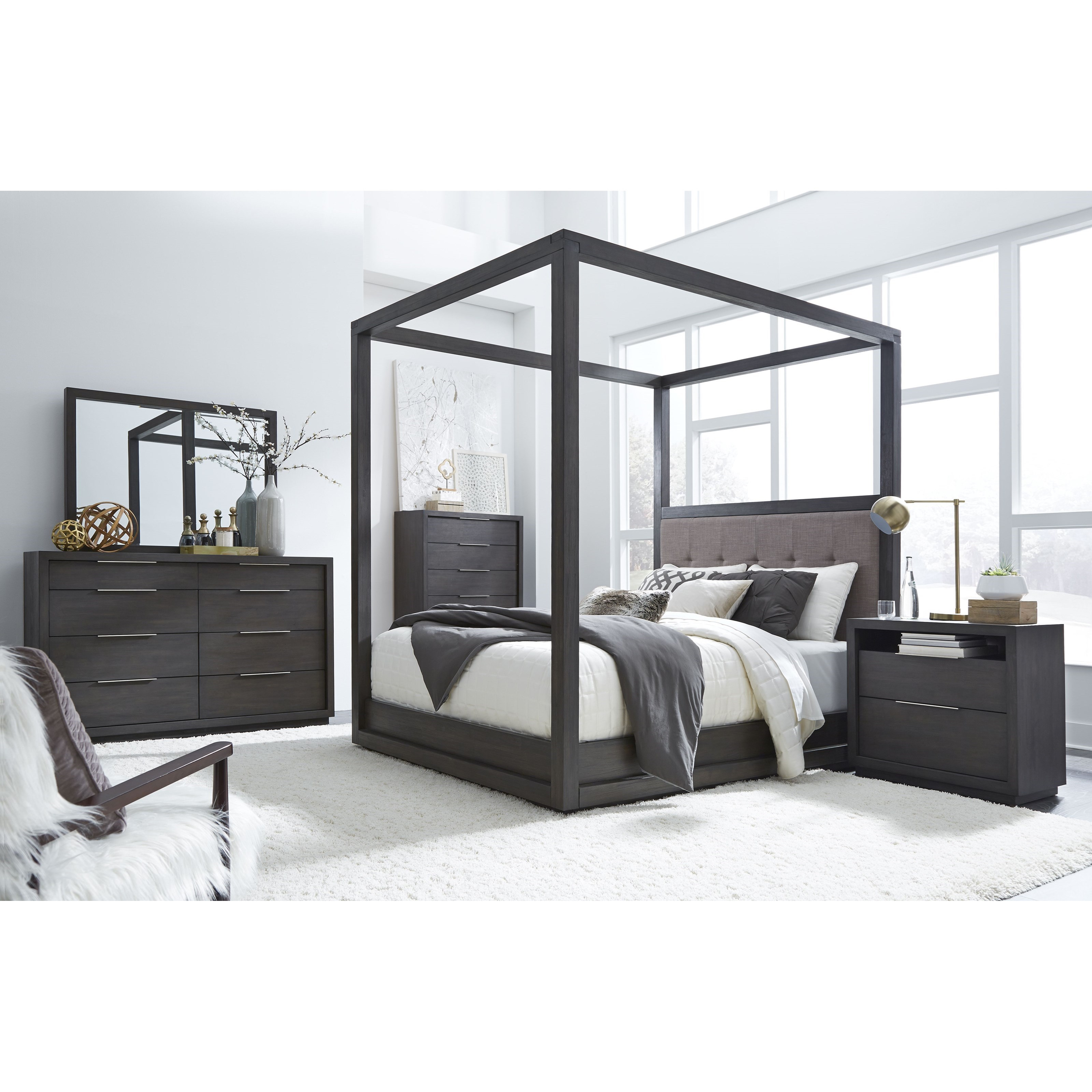Oxford Queen Canopy Bed with Upholstered Headboard ...