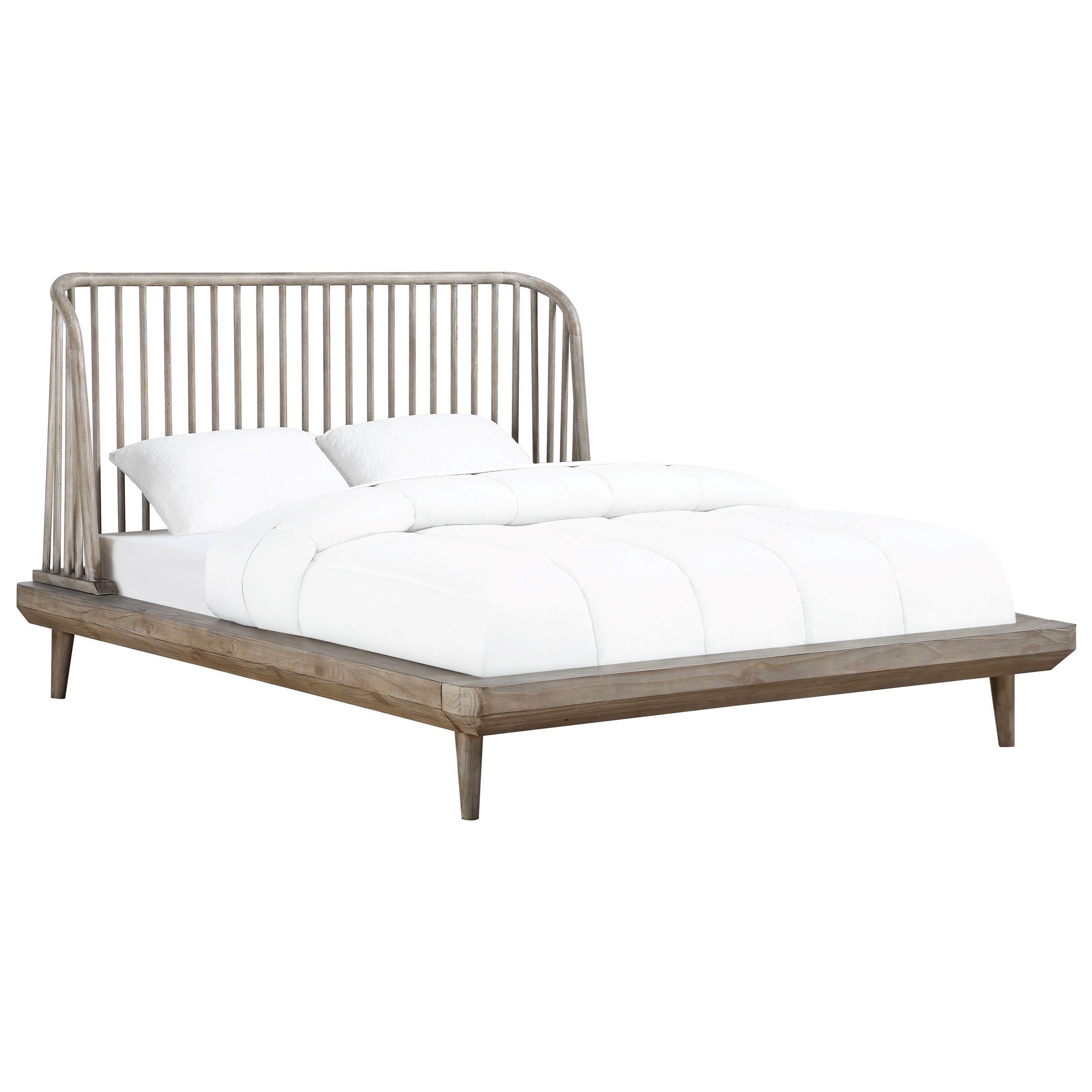 Picture of: Modus International Spindle Queen Platform Bed With Spindle Headboard A1 Furniture Mattress Platform Beds Low Profile Beds