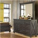 Modus International Yosemite Rustic 7 Drawer Dresser and Square Mirror - 7YC982+7YC983
