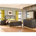 Modus International Yosemite Low Profile Queen Bed with Rustic Fabric Headboard