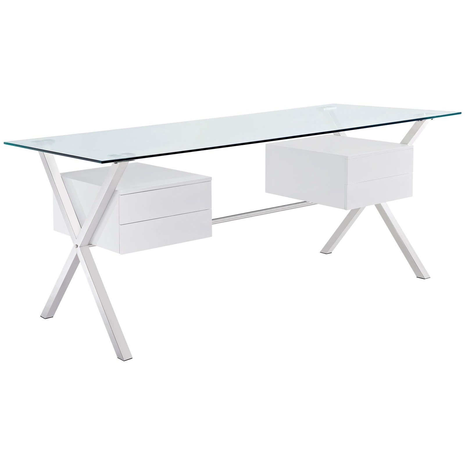 Modway Abeyance Glass Top Office Desk - Item Number: EEI-1182-WHI