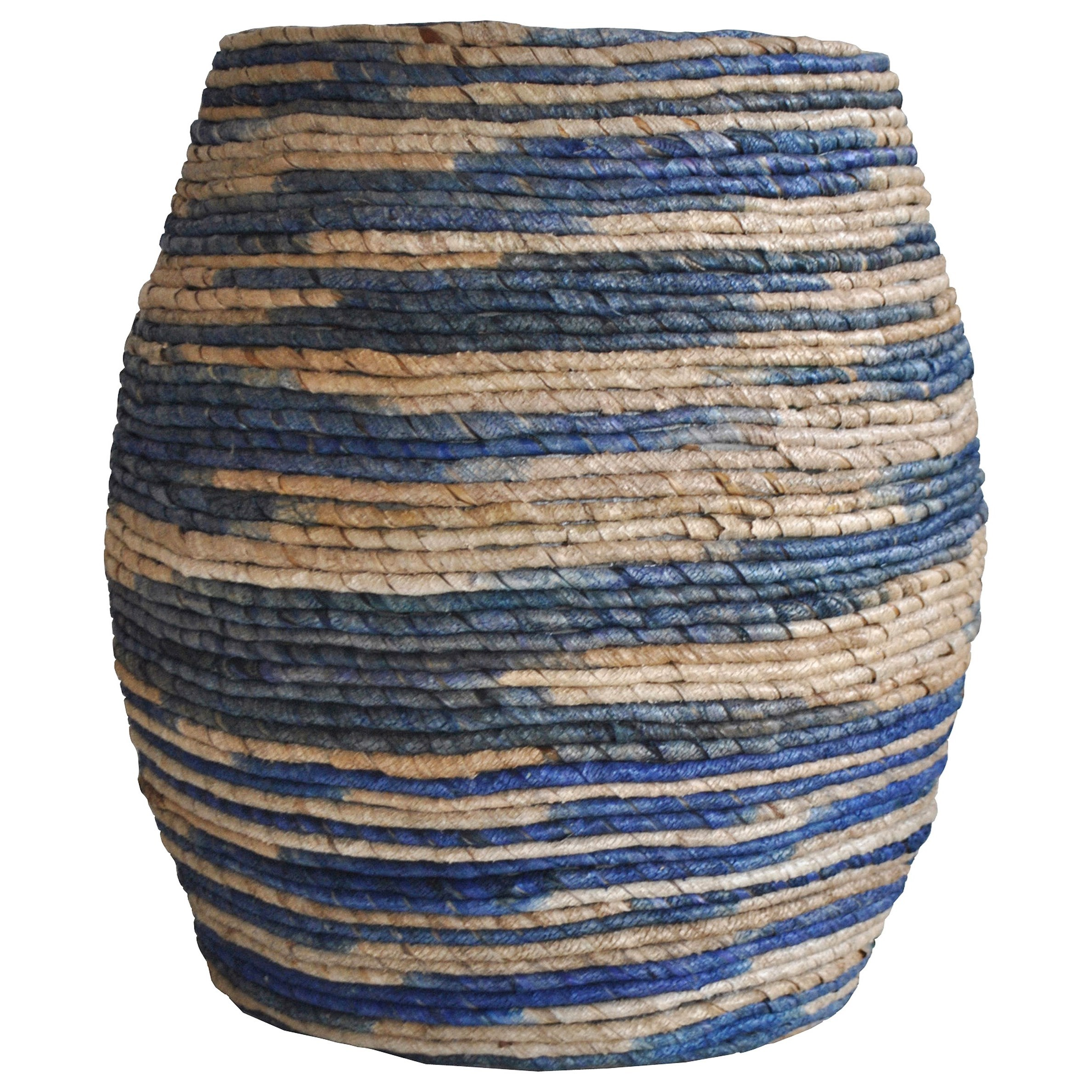 Moe's Home Collection Abaca  Drum Stool Blue  - Item Number: IZ-1006-26