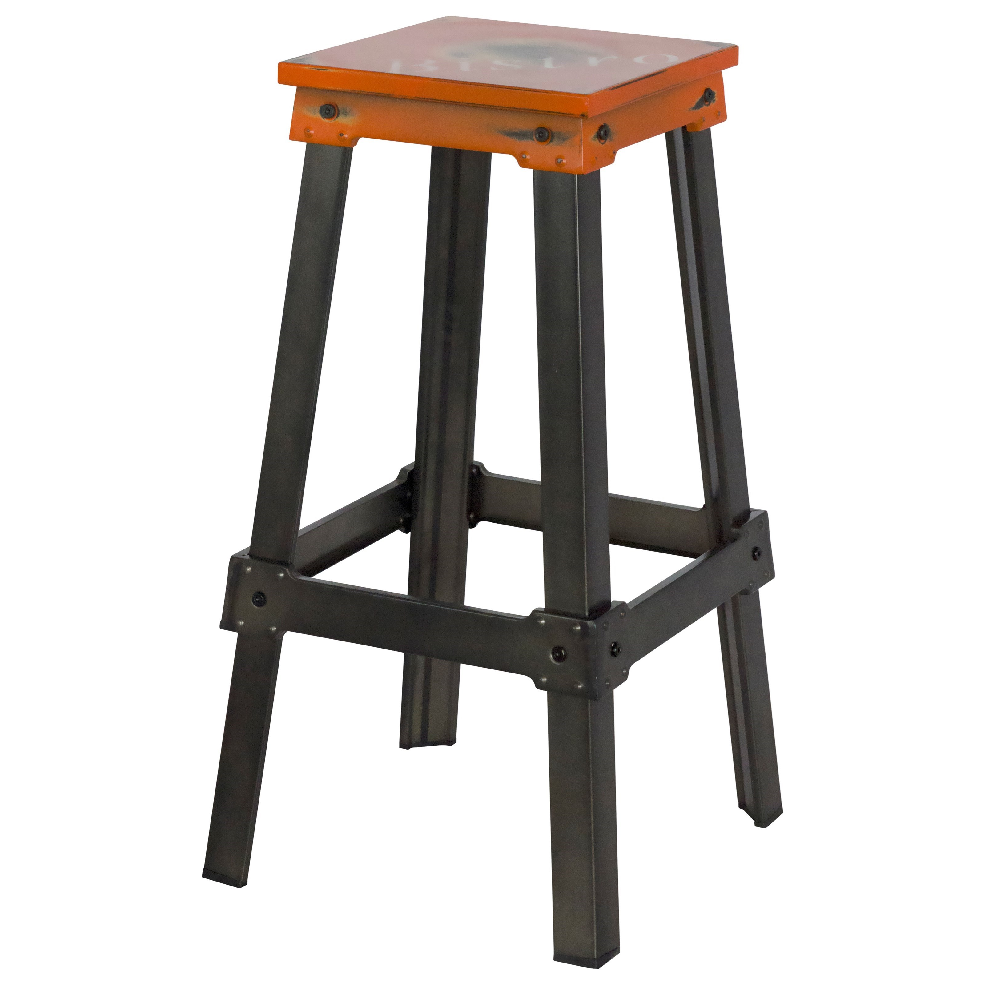Moe's Home Collection Amelie  Bistro Bar Stool Tangerine - Item Number: ZF-1007-12
