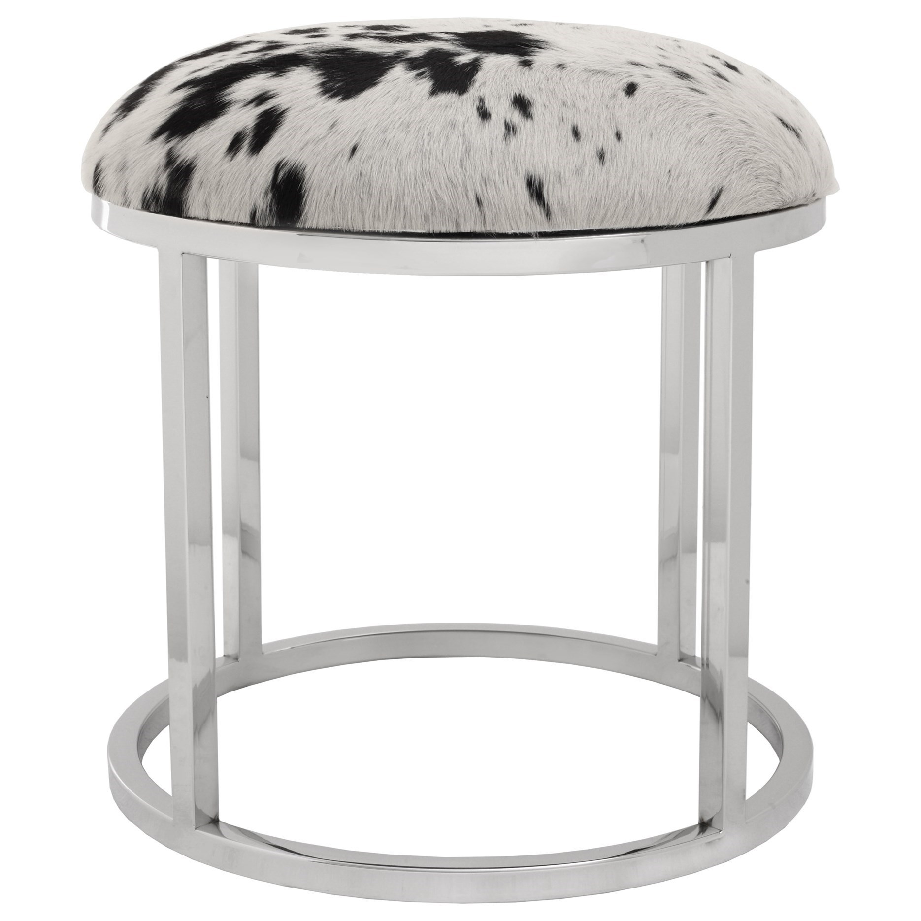 Appa Cowhide Round Stool by Moe's Home Collection at Stoney Creek Furniture