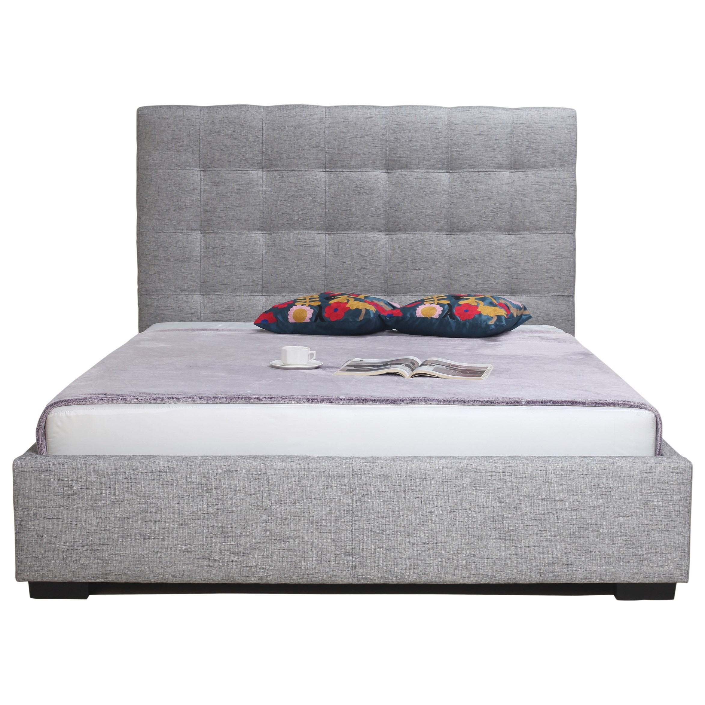 Moe's Home Collection Belle  Storage Bed Queen Light Grey Fabric  - Item Number: RN-1000-29
