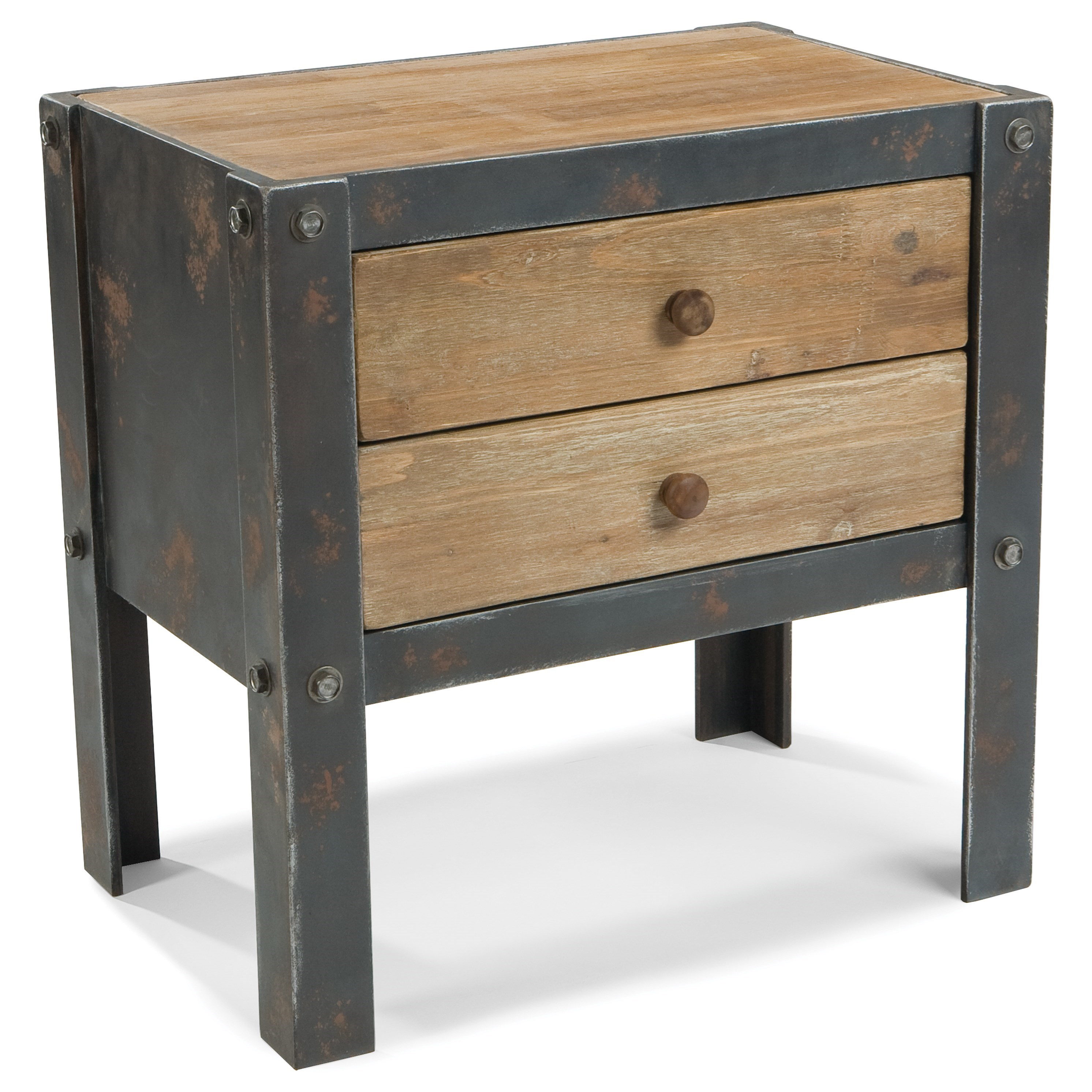 Industrial Side Table with 2 Drawers