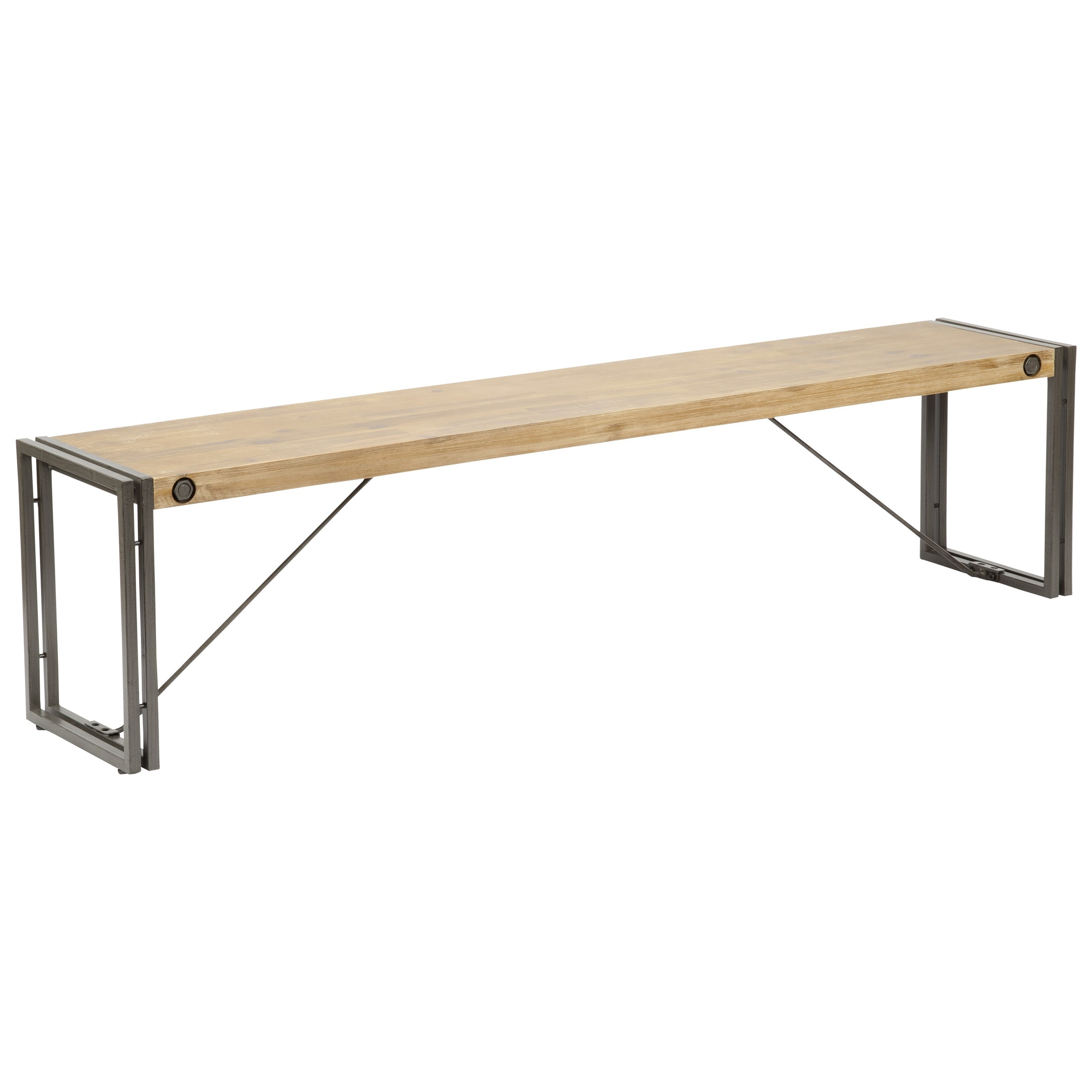 Moe's Home Collection Brooklyn Large Wooden Bench with Metal Stretchers - Item Number: WN-1002-20