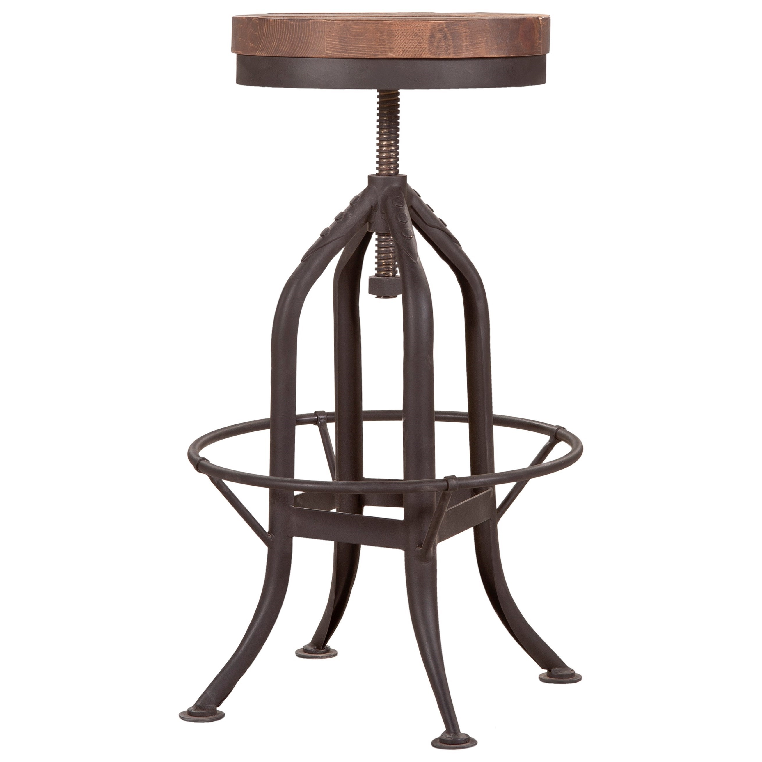 Brut Rustic Industrial Adjustable Barstool by Moe's Home Collection at Stoney Creek Furniture