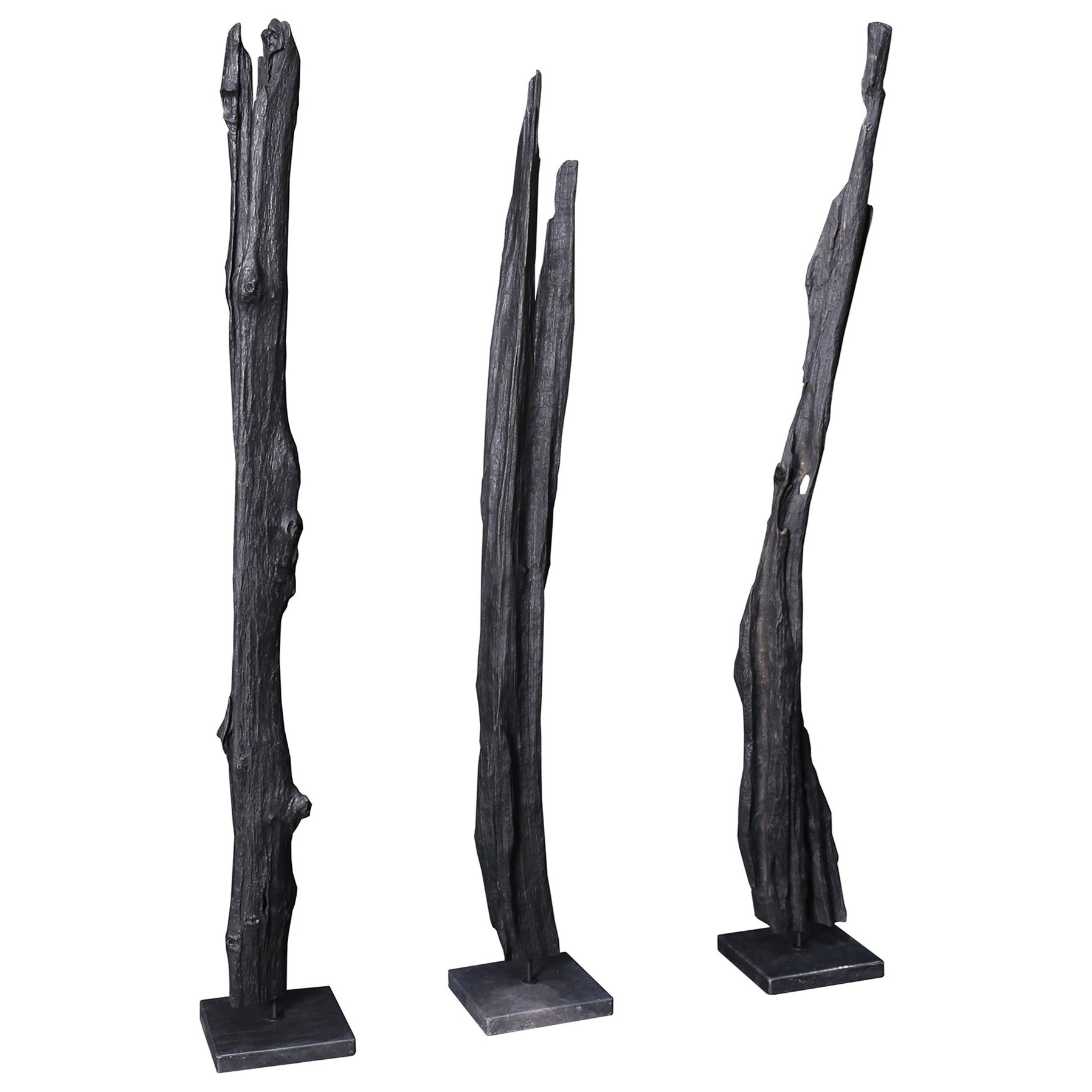 Moe S Home Collection Sculptures Tall Teak Wood Sculpture Weathered Grey Wilson S Furniture Sculptures Figurines