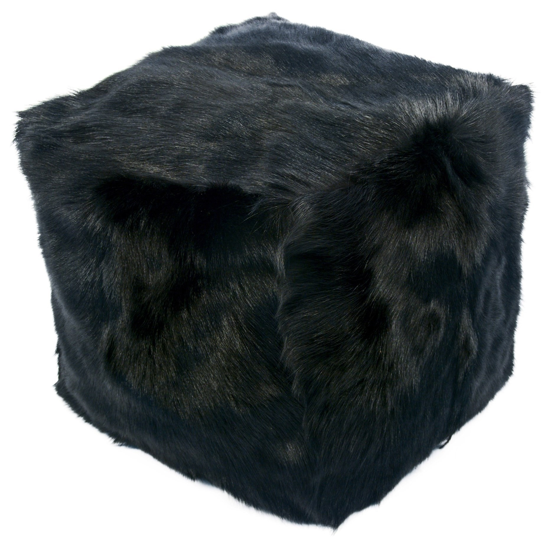 Goat Fur Pouf Black by Moe's Home Collection at Stoney Creek Furniture