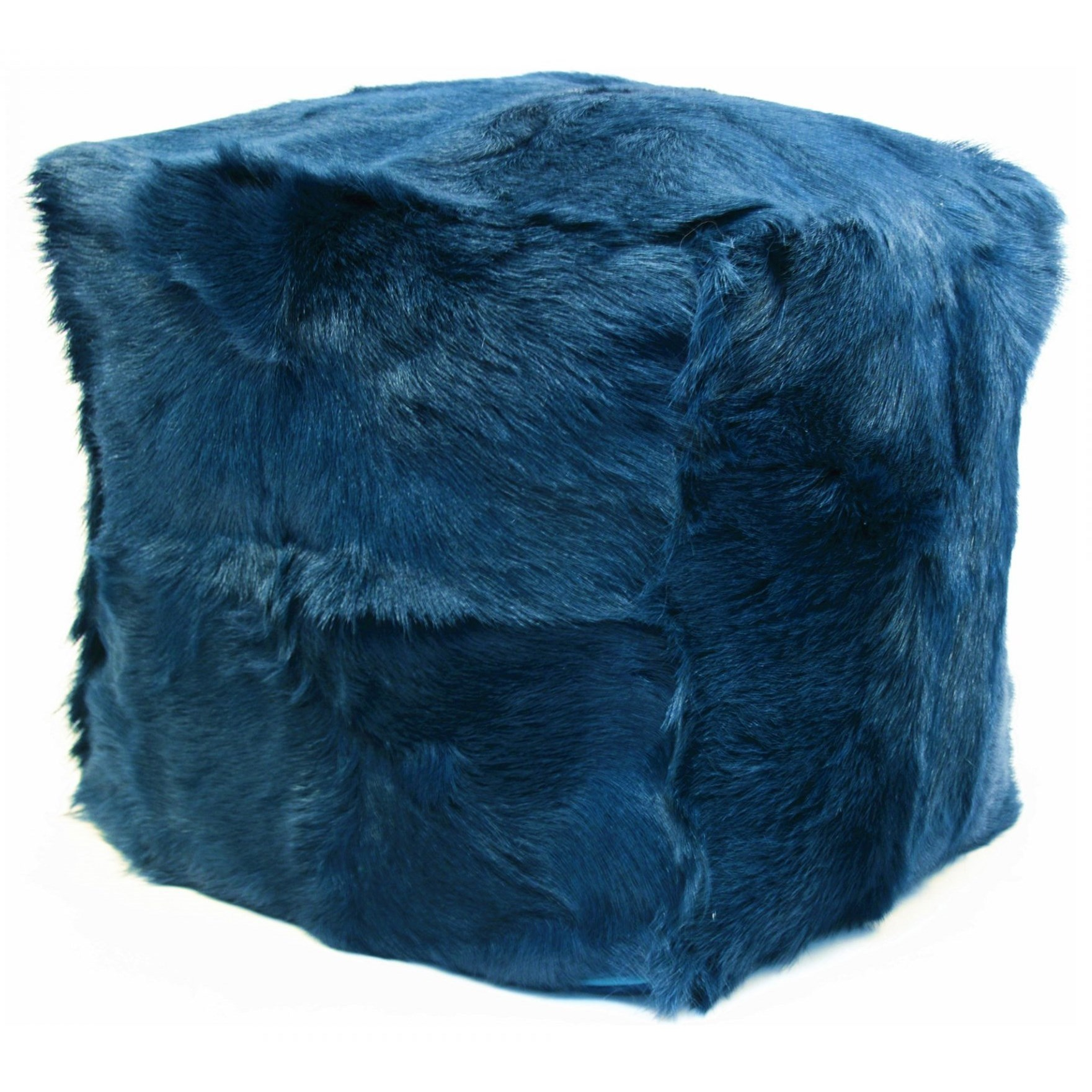 Goat Fur Pouf Navy by Moe's Home Collection at Stoney Creek Furniture