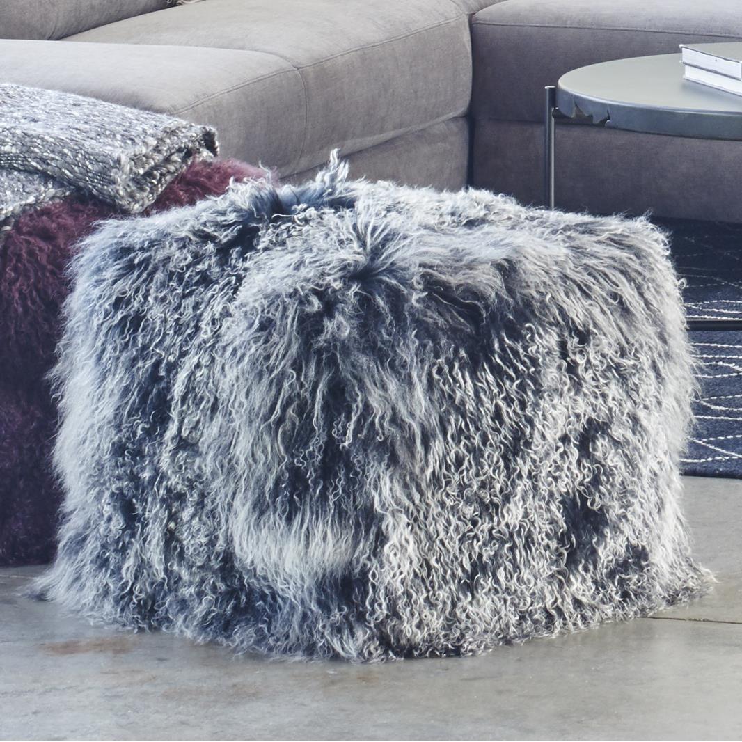 Fur Pouf Black Snow