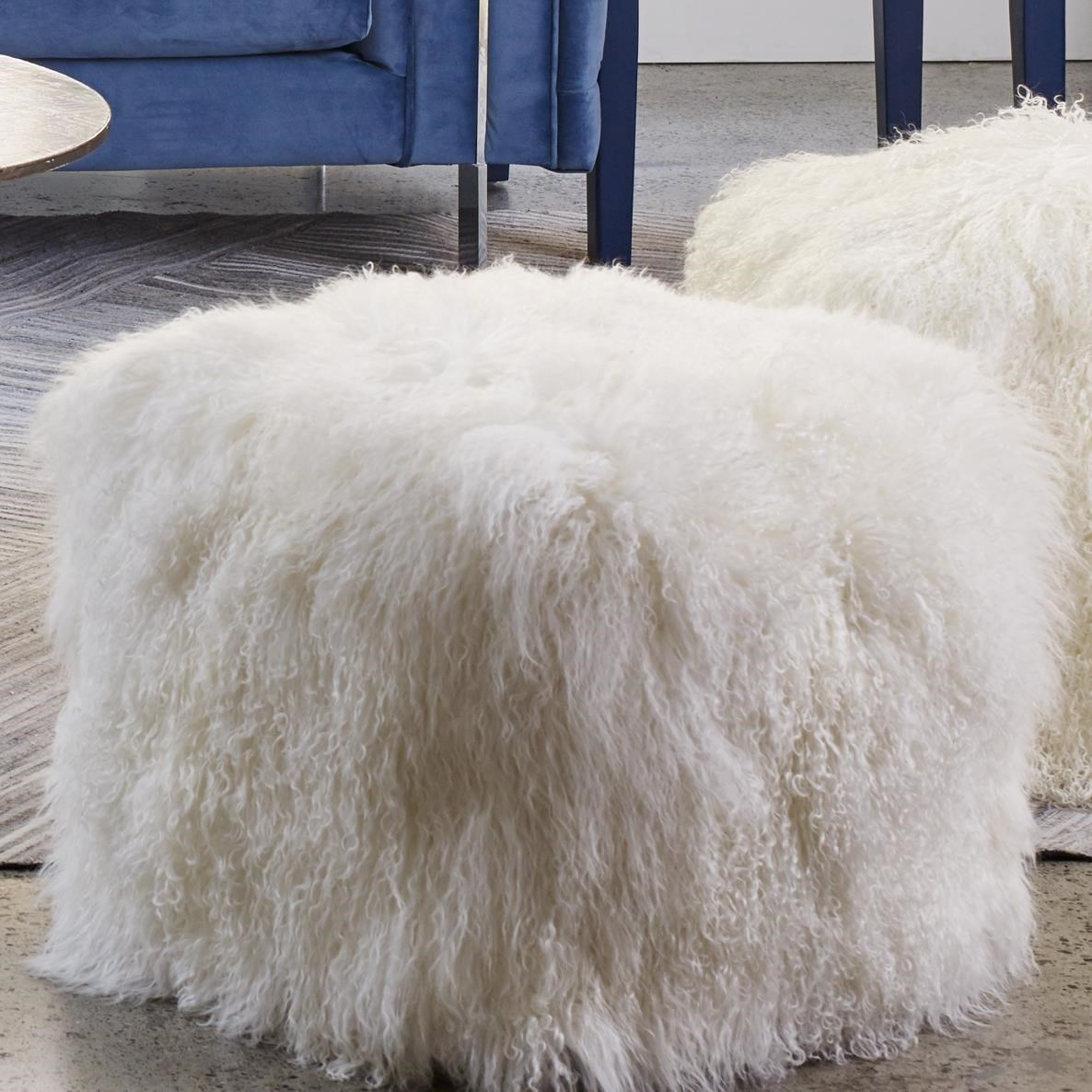 Lamb Fur Pouf Natural by Moe's Home Collection at Stoney Creek Furniture