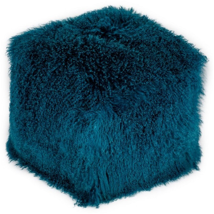 Lamb Fur Pouf Blue by Moe's Home Collection at Stoney Creek Furniture