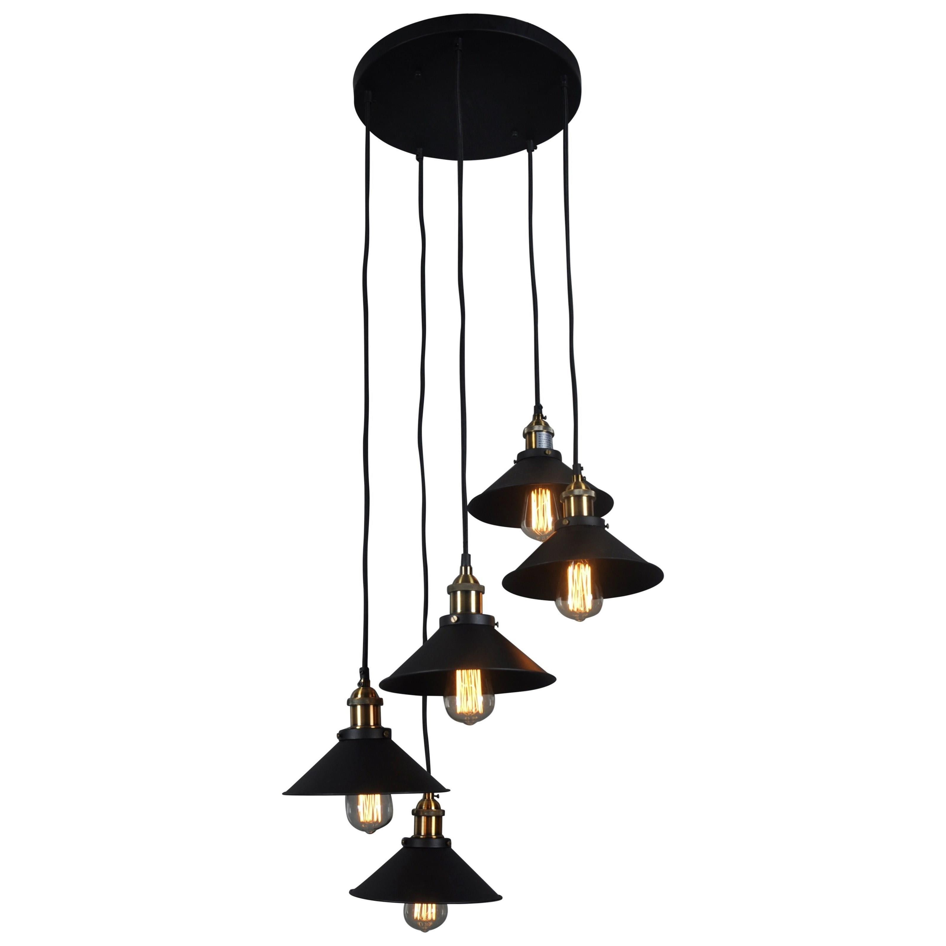 Lighting Renata Circular 5 Light Pendant Lamp Black by Moe's Home Collection at Stoney Creek Furniture
