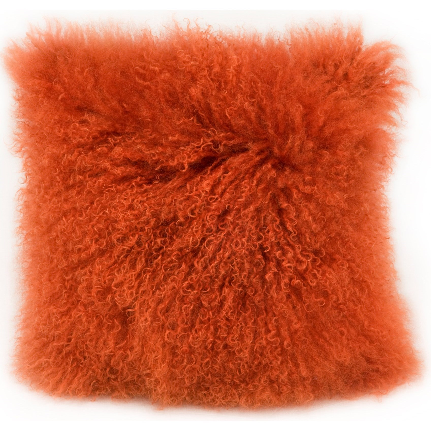Pillows and Throws Lamb Fur Pillow Orange by Moe's Home Collection at Stoney Creek Furniture