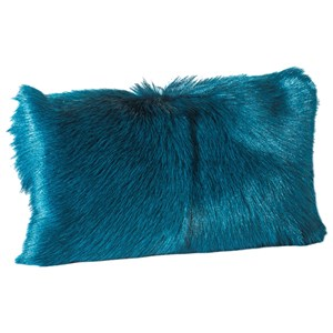 Moe's Home Collection Pillows and Throws Goat Fur Bolster Teal