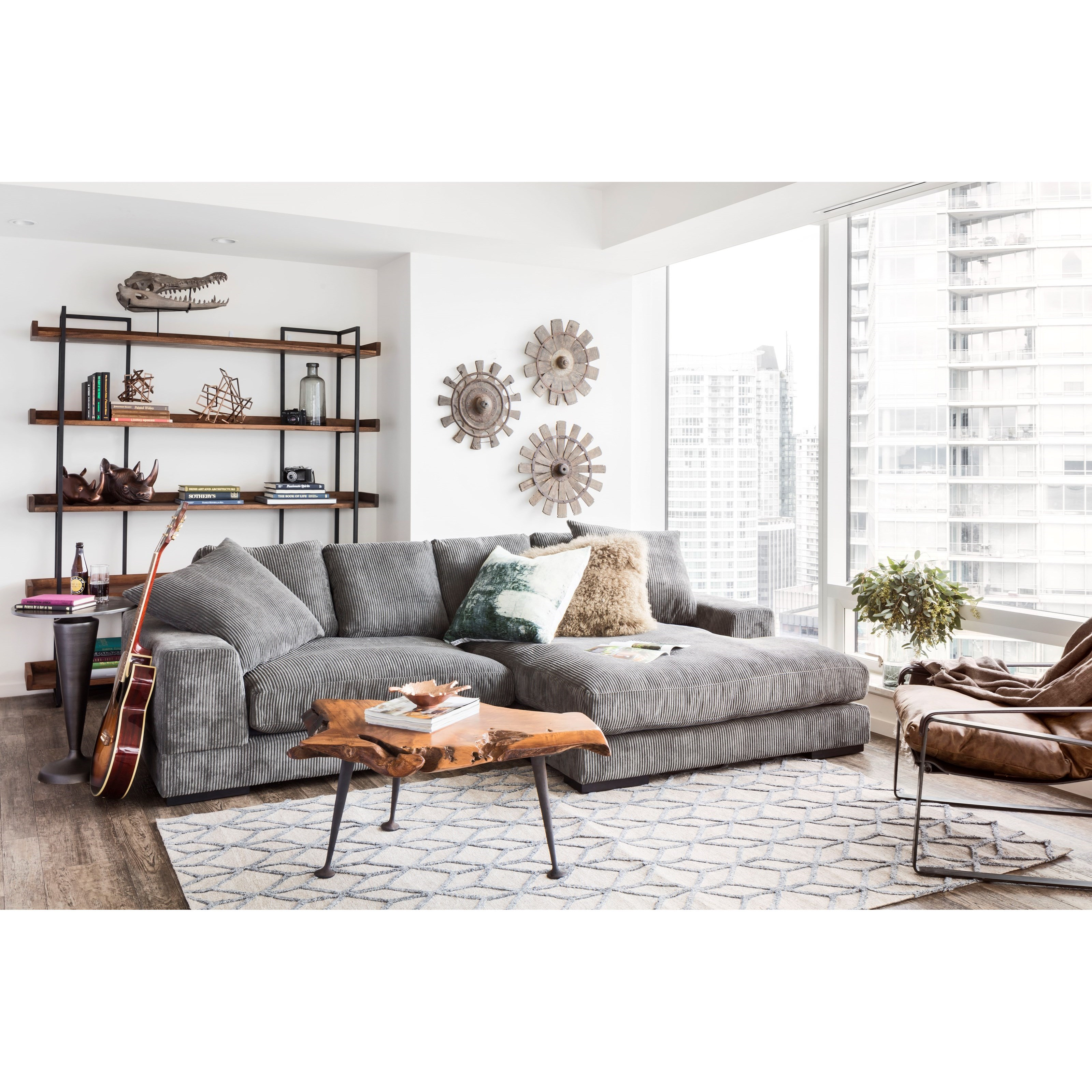 Moe S Home Collection Plunge Sectional With Flip Style