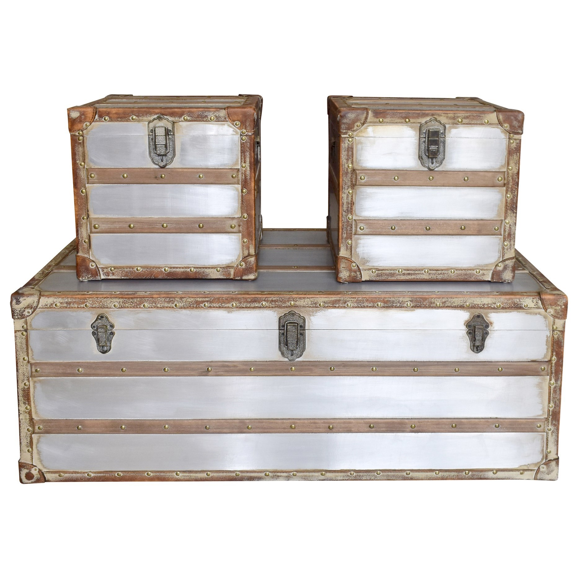 Moe S Home Collection Steamer Trunk Coffee And Side Tables Set With Silver Finish Stoney Creek Furniture Occasional Groups