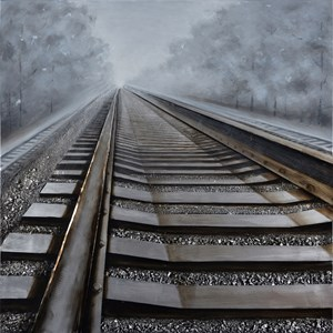 Moe's Home Collection Wall Décor On The Rails Oil Painting