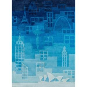 Urban Landscape 8' X 10' Rug - Blue