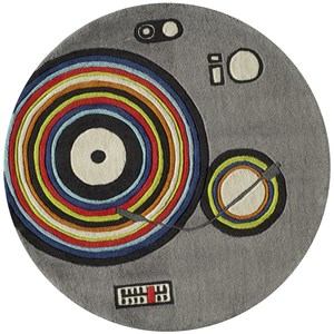 Turntable 5' X 5' Round Rug - Grey