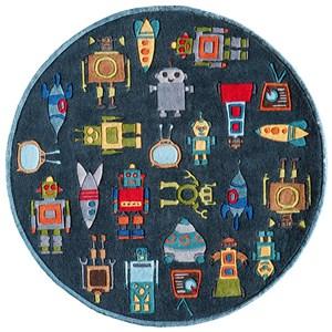 Robots 5' X 5' Round Rug - Steel Blue
