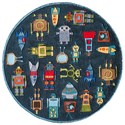Momeni Lil Mo Whimsey Robots 5' X 5' Round Rug - Steel Blue - Item Number: 17642