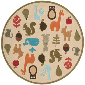 Critters 5' X 5' Round Rug - Ivory
