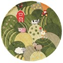 Momeni Lil Mo Whimsey Farm Land 5' X 5' Round Rug - Grass - Item Number: 20242