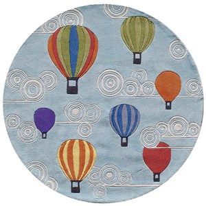Hot Air Balloons 5' X 5' Round Rug - Multi