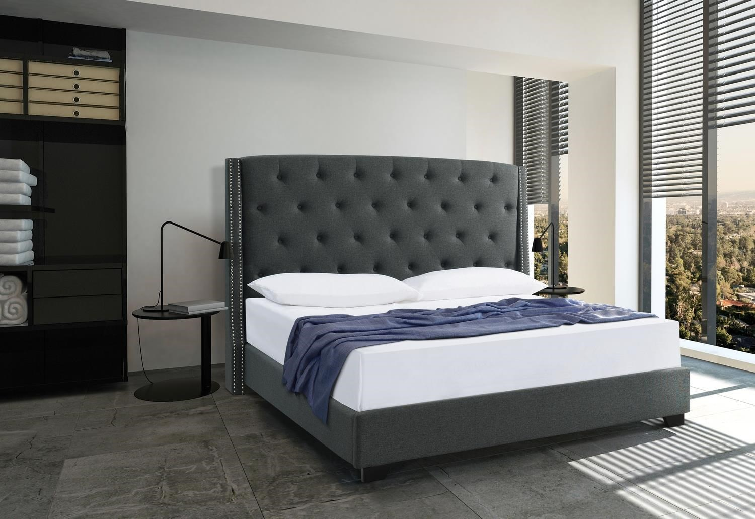 Carolina Midnight Queen Size Upholstered Bed by Mount Leconte Furniture at Darvin Furniture