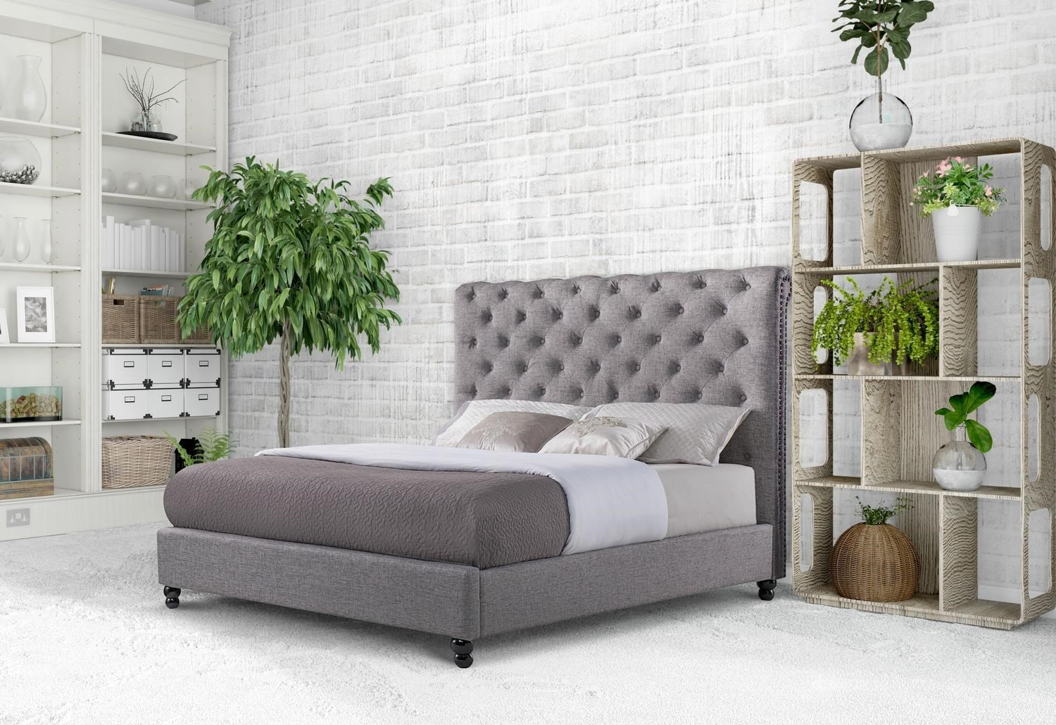 Christina Charcoal Queen Size Upholstered Bed by Mount Leconte Furniture at Darvin Furniture