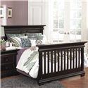 Muniré Furniture Majestic Full Panel Flat-Top Lifetime Crib - Shown with Full Size Bed Extended