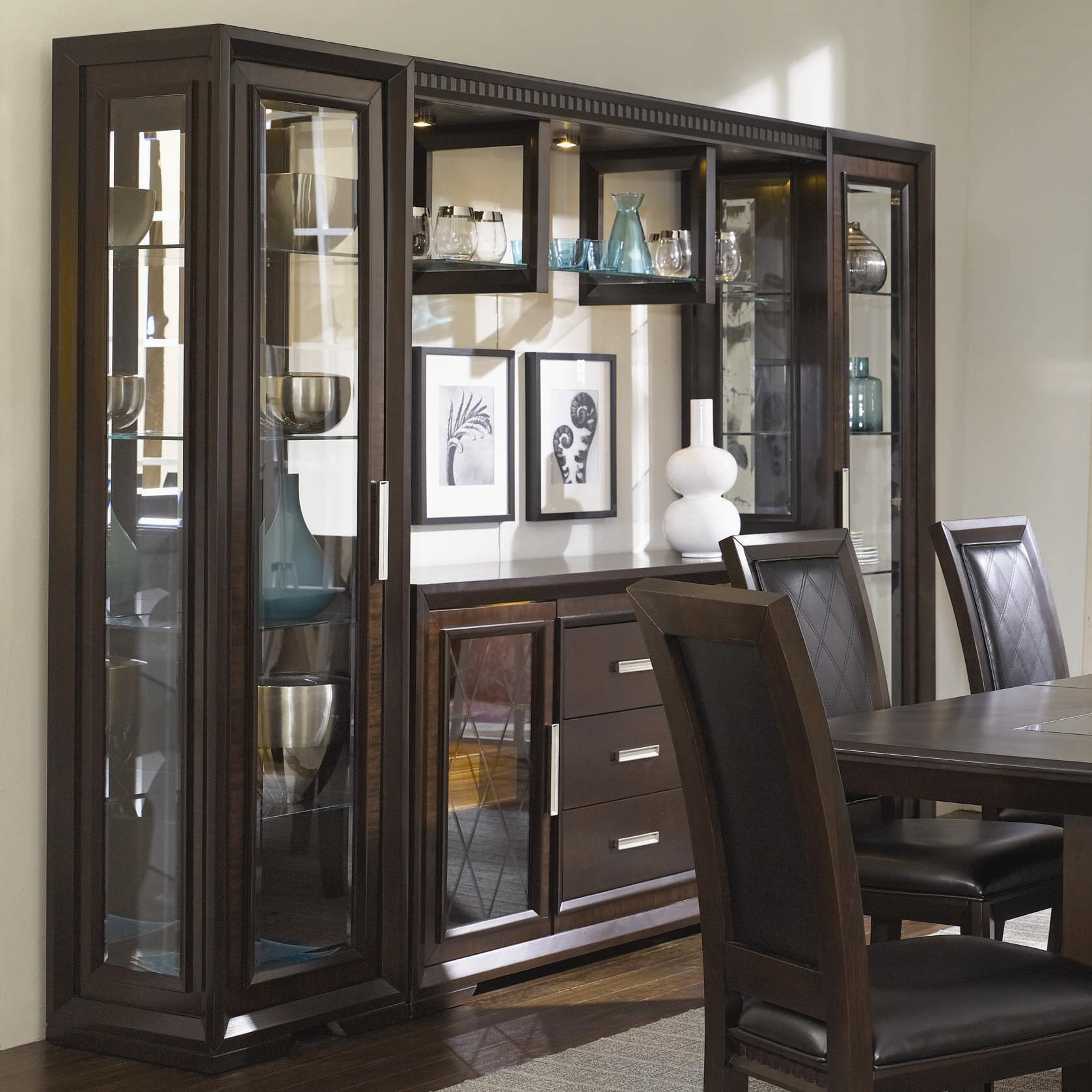 China Cabinet With Server Light Bridge And Storage Bwood By Najarian Wil Furniture Corpus Christi Kingsville Calallen Texas