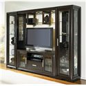 Najarian Brentwood TV Stand with Etched Glass Doors - Shown with Left Pier, Bridge and Right Pier