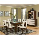 Najarian Enzo Dining PU Upholstered Side Chair with Open Backrest - Shown with Dining Table and China Cabinet