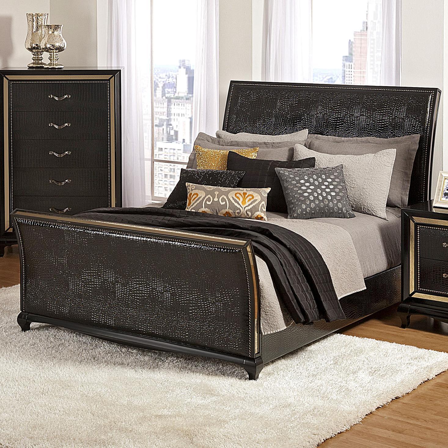 Najarian Ibiza California King Upholstered Sleigh Bed - Item Number: BDIBIUHBKE+BDIBIUFBKE+BDIBIRSKWP