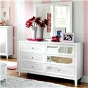 Najarian Impressions Youth 6 Drawer Dresser with Reversible Drawer Front Panels - Shown with Square Mirror