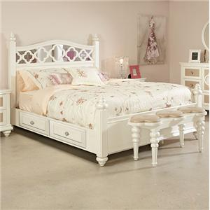 Najarian Paris Youth Bedroom Twin Panel Bed w/ Storage